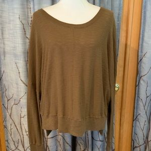 NWOT Vince M brown cotton slub pullover high low